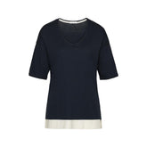 SOLIDS Ink Blue - Top with short sleeves