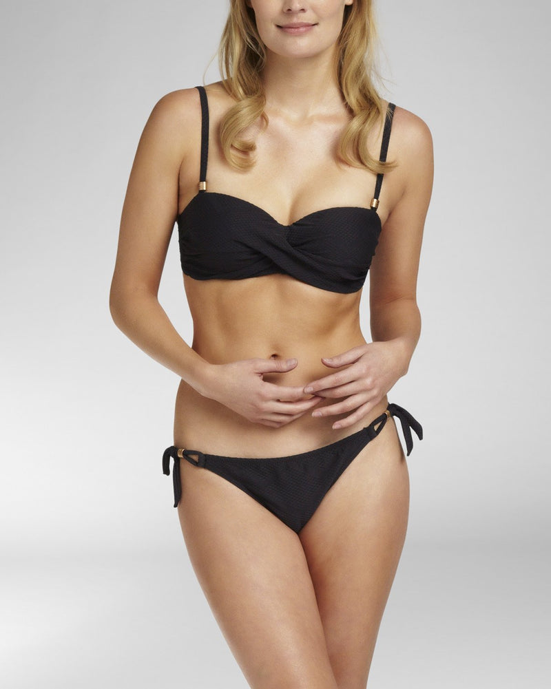 TEXTURE BLACK - Bandeau bikini top foam cup wired