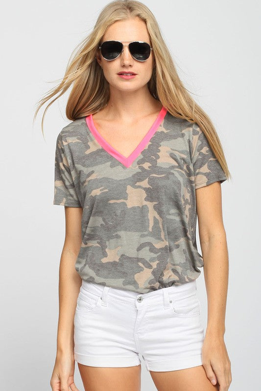 Camo Tee with Neon Pink Accent
