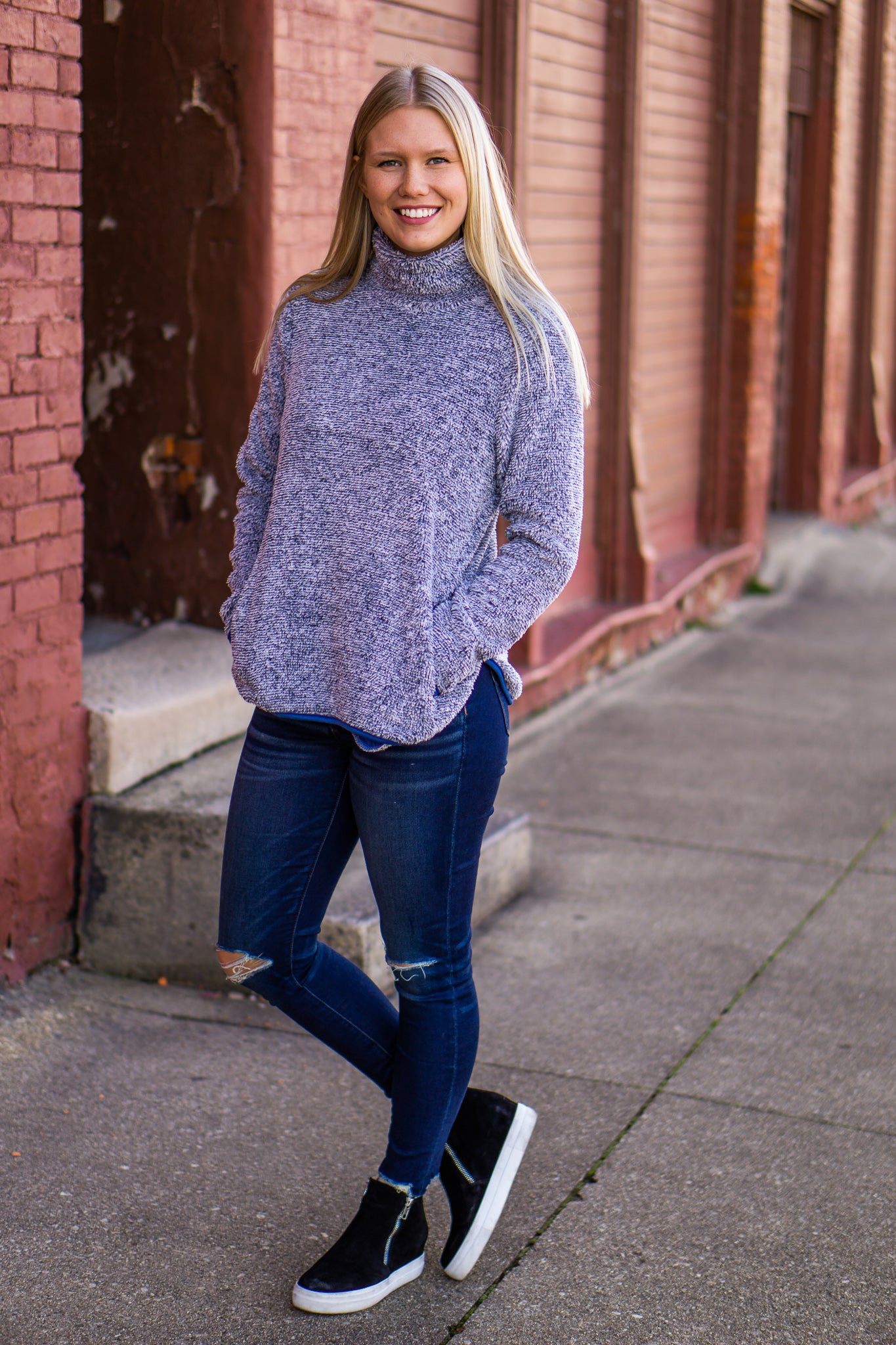 Navy Fleece Knit Pullover