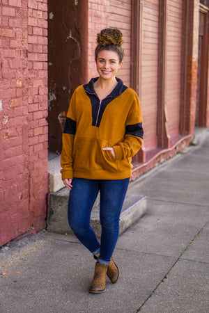 Coffee Half Zip Pull Over