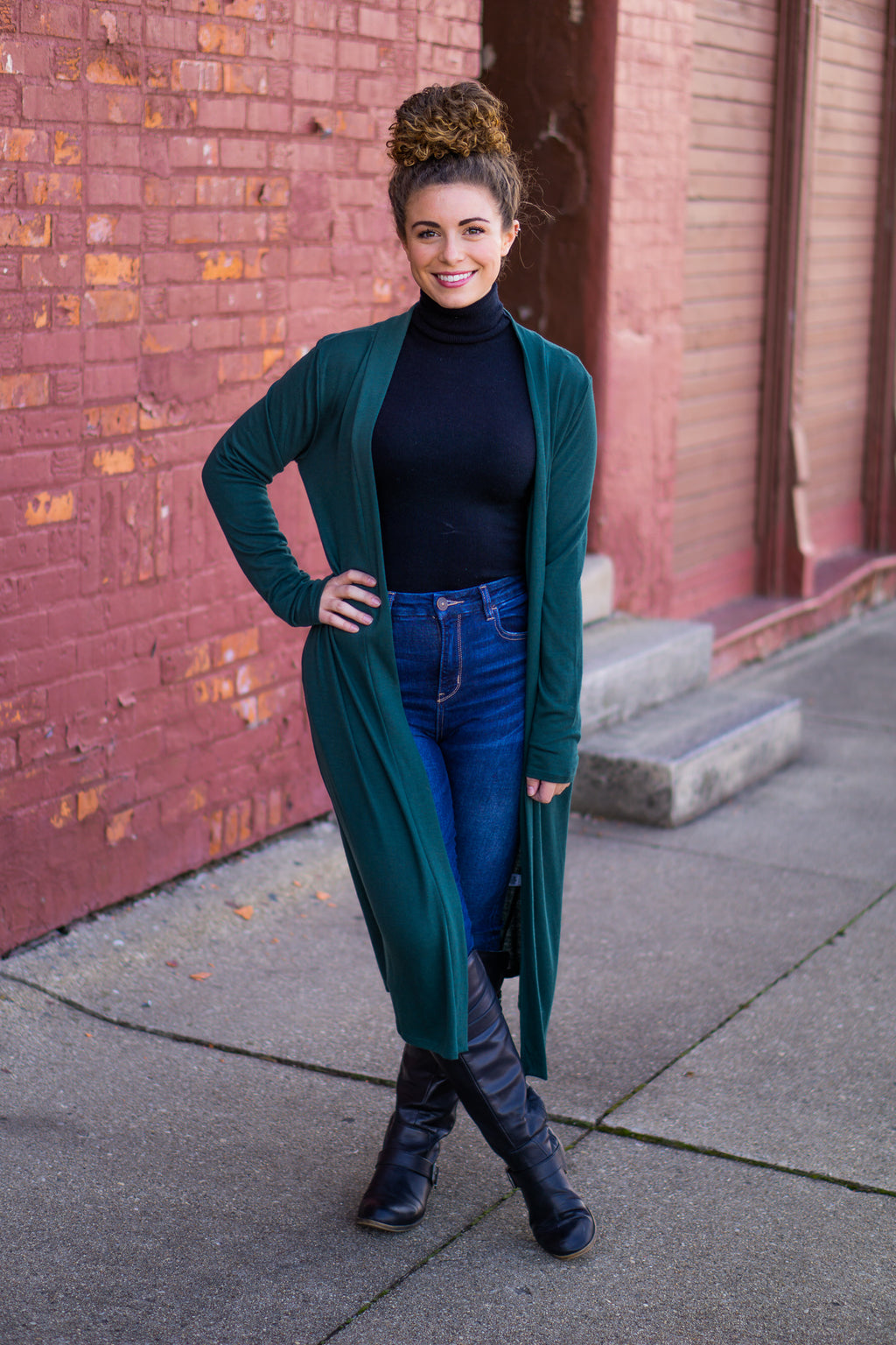 Hunter Green Sweater Duster with Pockets