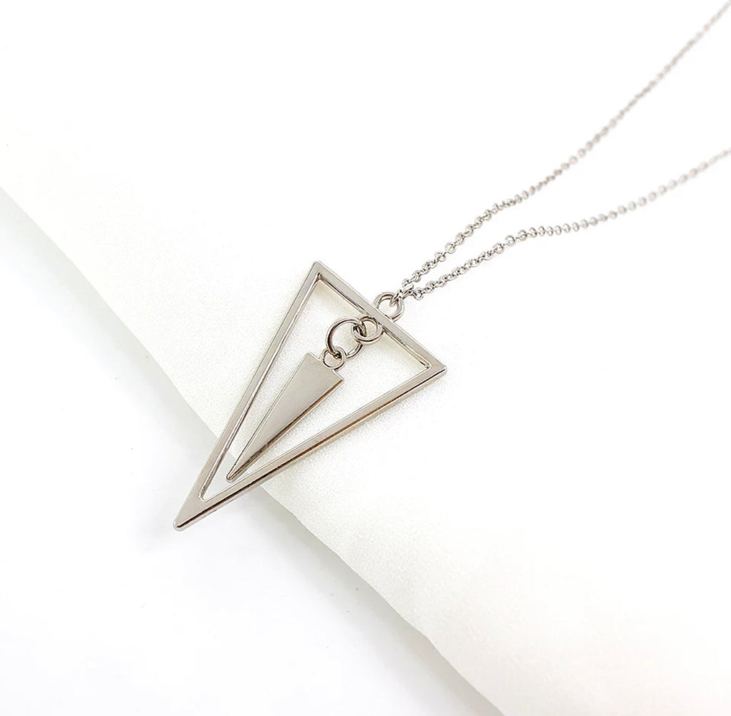 Long Geometric Necklace Silver
