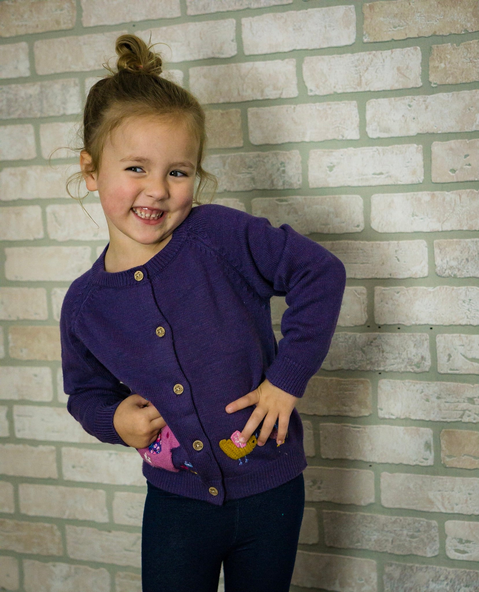 Purple Elephant Kids Cardigan