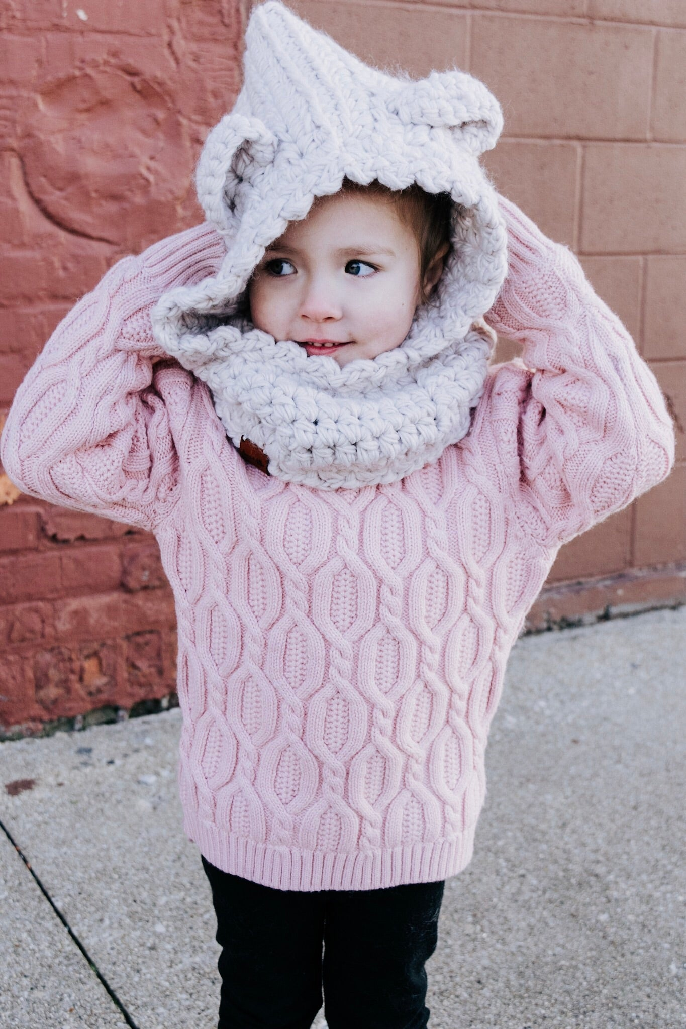 Children's Bear Hat with Cowl Neck