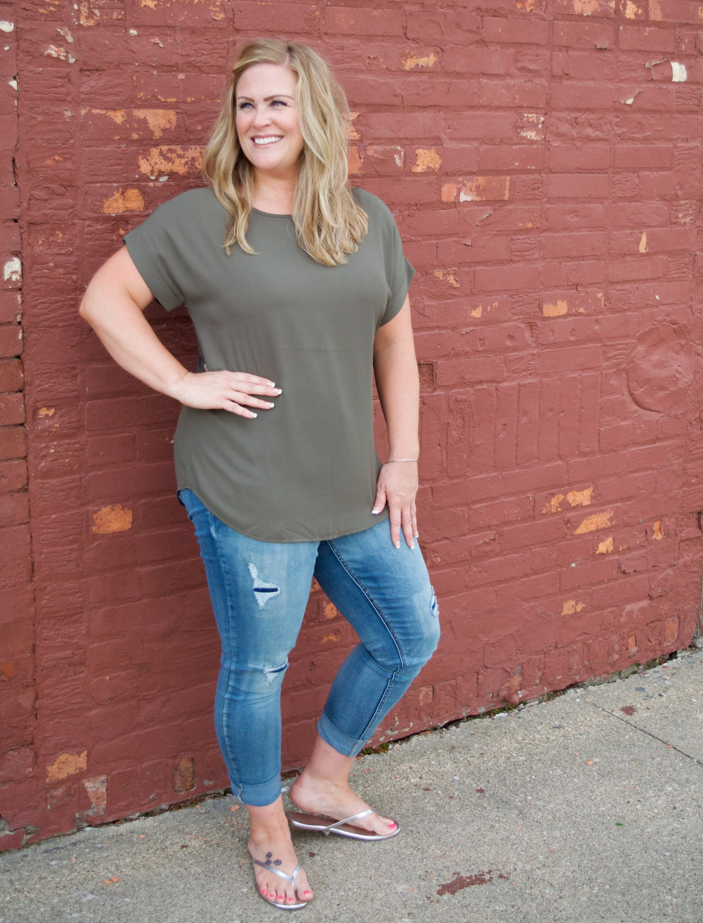 Boat Neck Cuffed Top