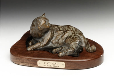 Cat Nap - Bronze Sculpture by artist Phyllis Mantik deQuevedo
