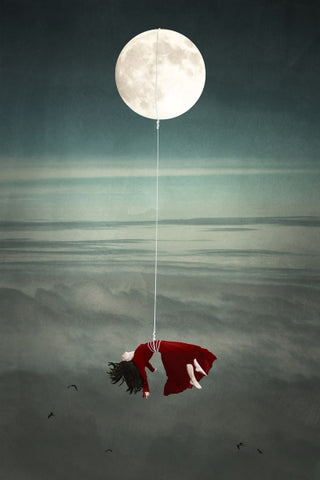 Tied to the Moon: Mother - Photo Collage on Watercolor Paper Conceptual Art by artist Elisabeth Ladwig