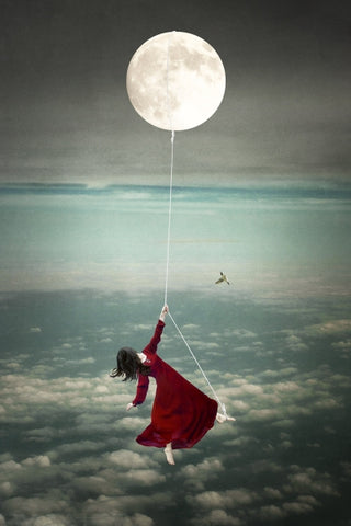 Tied to the Moon: Maiden - Photo Collage on Watercolor Paper Conceptual Art by artist Elisabeth Ladwig