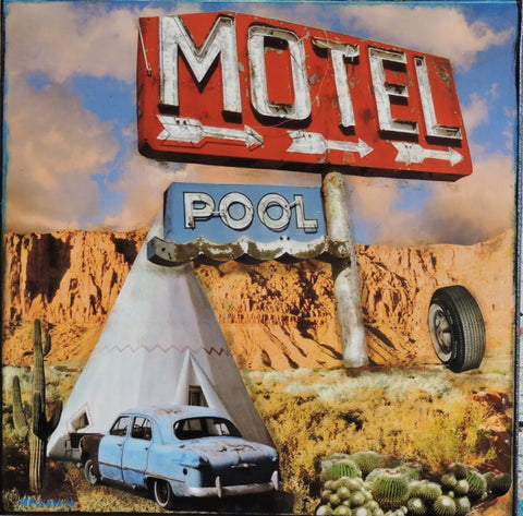 Motel, Tee pee and Pool - Acrylic /Mixed Media Collage by artist Dave Newman