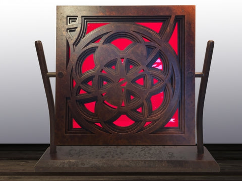 Rose Window in Rust & Red - NULL Sculpture by artist William Freer