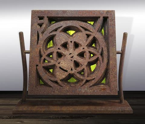 Rose Window in Rust & Green - Steel & Glass Sculpture by artist William Freer