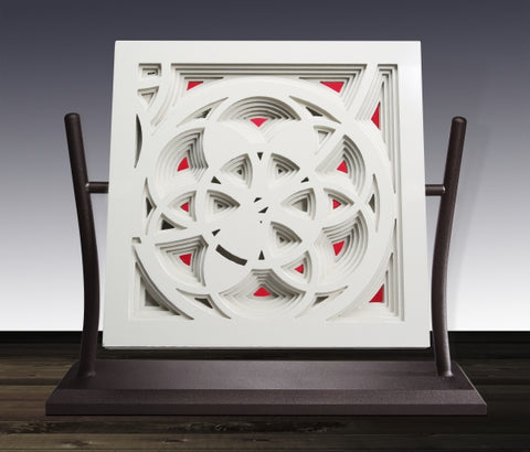 Rose Window in White & Red - Steel & Glass Sculpture by artist William Freer