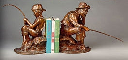 Beginner's Luck Bookends - Bronze Sculpture by artist Gary Lee Price