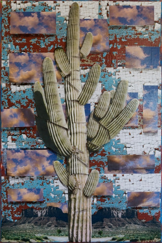 Surreal Cactus Series #9043 - Mixed Media Collage by artist Dave Newman