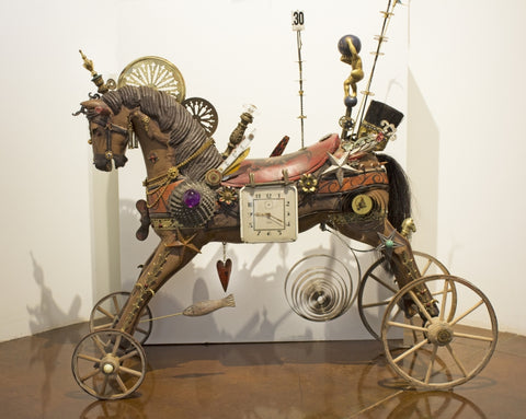 Atlas Horse - Found objects & parts Sculpture by artist John Stebila