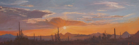 Saguaro Sunset Colors - Oil Paintings by artist John Horejs