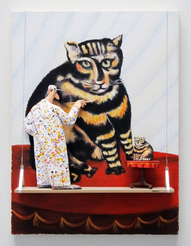 The Tiger Cat/The Tabby (Rousseau) - Acrylic/Paper Mache' Paintings by artist Stephen Hansen