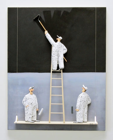 Black on Grey (Rothko) - Acrylic/Paper Mache' Paintings by artist Stephen Hansen