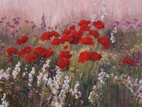 Red Poppy Wildflower Garden - Oil Paintings by artist John Horejs