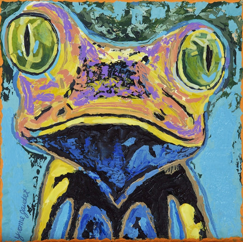 Z Frog #2 - Mixed Media on Panel Paintings by artist Yvonne Gaudet