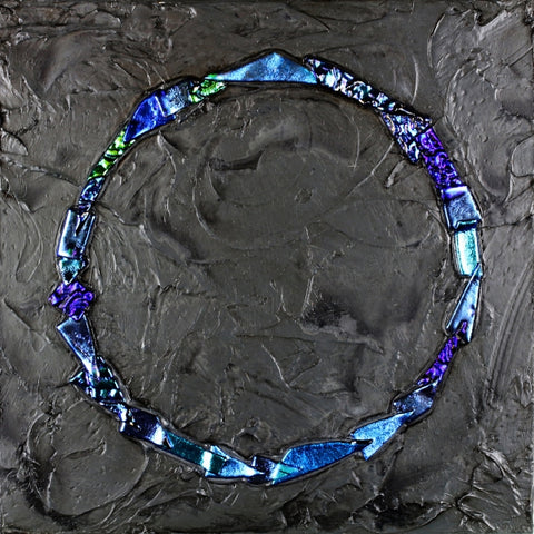Floating Circle Series #10 - Glass and Acrylic on Aluminum Glass by artist Christine Hausserman