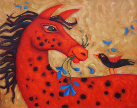 A Joyful Encounter - oil on canvas Paintings by artist Cindy Revell