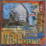 Indian Country - Acrylic /Mixed Media Collage by artist Dave Newman