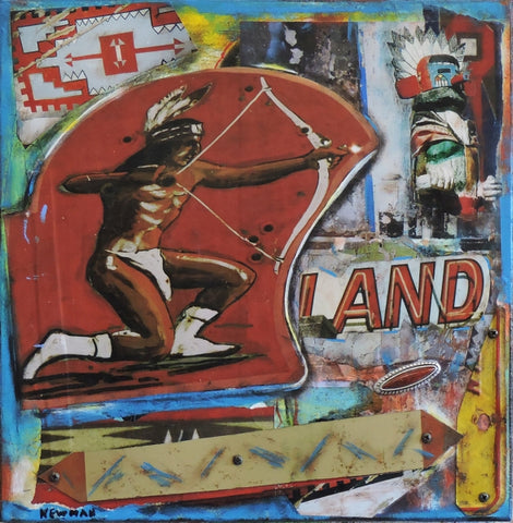 Native Land - Acrylic /Mixed Media Collage by artist Dave Newman