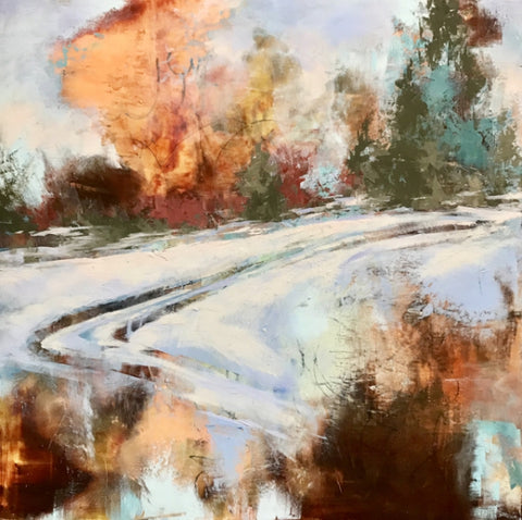 Road Less Traveled - Cold Wax & Oil Paintings by artist Melanie Ferguson Art