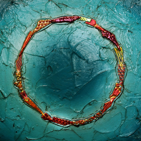 Floating Circle Series #19 - Glass and Acrylic on Aluminum Glass by artist Christine Hausserman