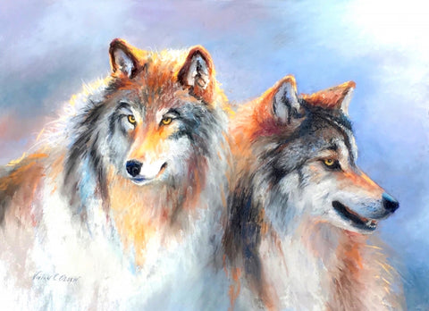 Wilderness Wolves - Soft Pastel Paintings by artist Vivian  C Olsen