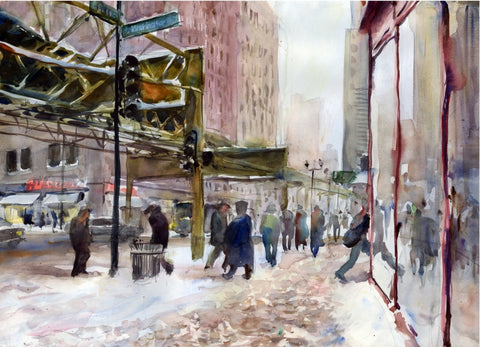 City Snow - Watercolor Paintings by artist Gordon France