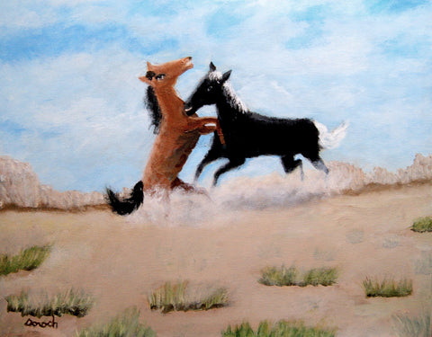 THE FIGHT - acrylic on canvaas Paintings by artist Greg Dorosh