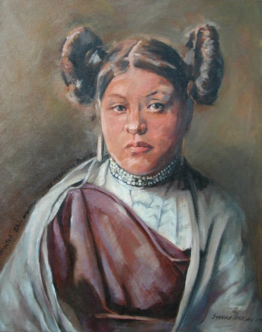 Young Hopi Girl -  Paintings by artist Synnove Pettersen