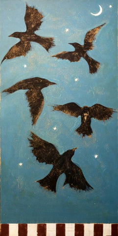 American Ravens - 1661 - Acrylic /Mixed Media Original Print by artist Michael Swearngin