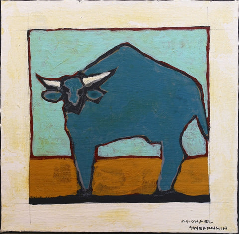Blue Buffalo II - 1727 - Acrylic /Mixed Media Paintings by artist Michael Swearngin