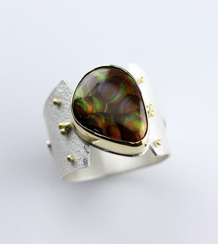 Mexican Fire Opal Sterling Silver & 18k Ring - 18k and Sterling Silver Jewelry by artist Janet E Alexander