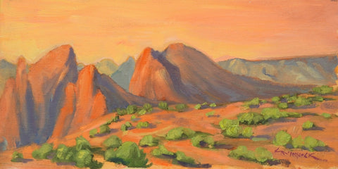 Nightfall Near Sedona - Oil on Panel Paintings by artist Kathy M Haycock SCA AFC OSA