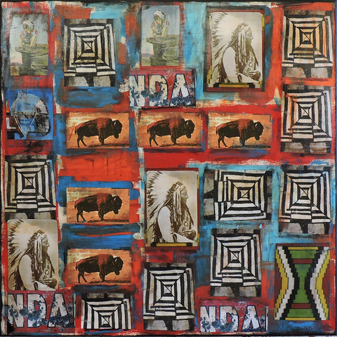 Native Quilt Series  9110 - Acrylic /Mixed Media Paintings by artist Dave Newman