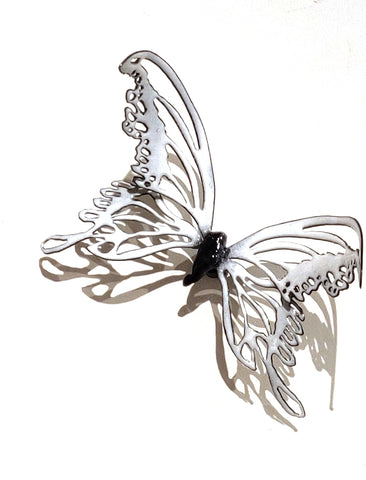 Butterflyor Moth Size 3 - Vitreous Enamel on Steel Sculpture by artist Christie Hackler