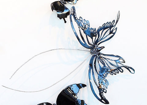 Butterflyor Moth Size 8 - Vitreous Enamel on Steel Sculpture by artist Christie Hackler