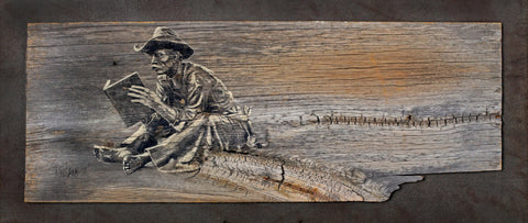 Buckaroo Bookworm - Acrylic on Barn Wood Paintings by artist Larry Nielson