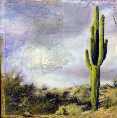 Wanderer's Signpost - Mixed Media on Panel Convergent Media by artist Judith Monroe