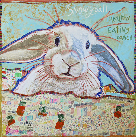 Snowyball - Mixed Media on Panel Collage by artist Yvonne Gaudet
