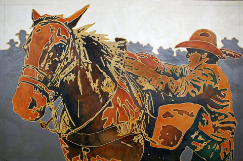 He Has Horses to Ride and People to See - 1688 - Acrylic Paintings by artist Michael Swearngin