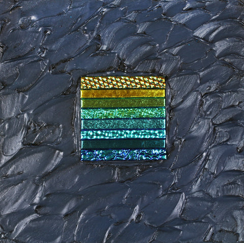 Floating Square Series #14 - Glass and Acrylic on Aluminum Sculpture by artist Christine Hausserman