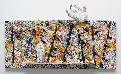 Blue Poles (Pollock) - Acrylic/Paper Mache' Paintings by artist Stephen Hansen