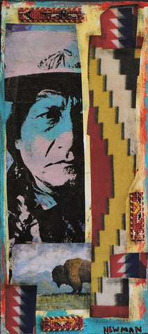 Sitting Bull and Buffalo - Acrylic /Mixed Media Paintings by artist Dave Newman