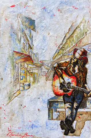 Busking Country - Acrylic on cement Paintings by artist Charlie Barr